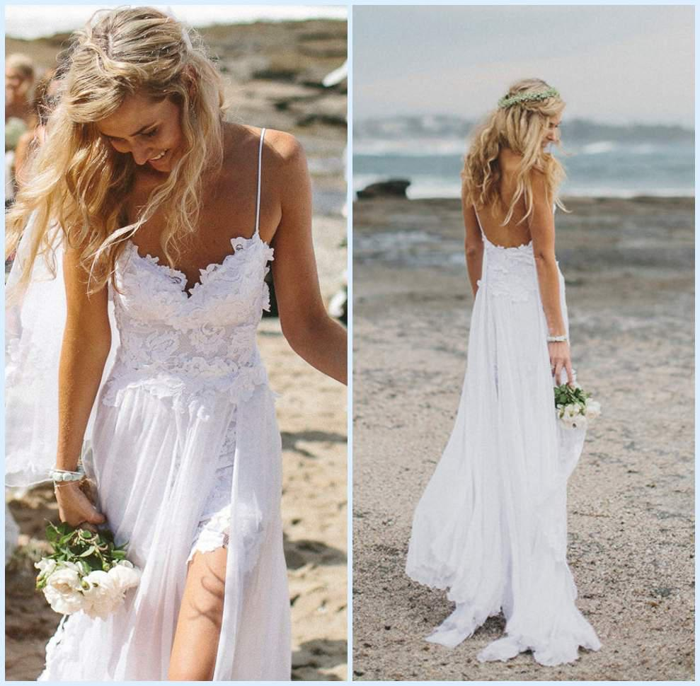 Silk Wedding Dresses Low Back Back Beach Wedding Dress