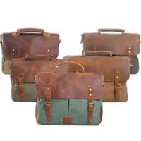 Wholesale New Men Canvas with Leather Vintage postman single shoulder bag handbag briefcase AR203 smileseller