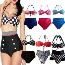New stripe High Waist Bikinis Set Sexy Swimwear woman's Swimsuit Fashion Brand Plus Size High Waisted Bathing suits Navy style Beachwear