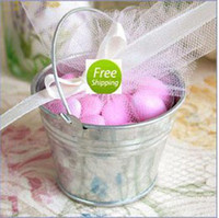 Wholesale mini wedding favor tin candy buckets wedding pails wedding favor metal bucket candy box