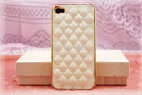 For Apple iPhone plastic lattice - Luxury Gold Leather Case for iphone s s Soft PU Sheep Grid Pattern Lattice Hard Back cover case electroplate iphone plastic case hot