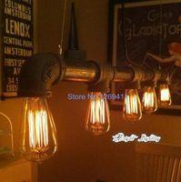 Wholesale Loft American industrial style Iron pipe pendant light chandelier Edison vintage bulbs headlights