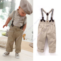 Boy Spring / Autumn Short 2Pcs Baby Boy Clothes Toddler Set Gentleman Overalls Outfit Top+ Bib Pants 0-4Y 19874