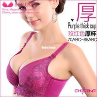 Wholesale new deep V bra top push up bras sets size cup A B C D pure cotton nylon spandex back closure lace floral purple black underwire