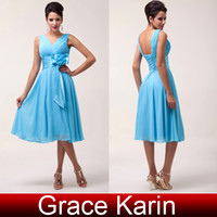 Wholesale Cheap Grace Karin New Sexy Deep V Neck Chiffon Evening Prom Party Dress A Line Ruched Ball Gown Sizes Sky Blue CL6015
