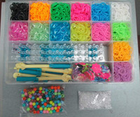 Wholesale rainbow loom plastic box for Kids DIY bracelets with ps Glister glow in the dark rubber with clips hook beads charms