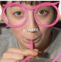 Wholesale 10pcs creative glasses shape drinking straw