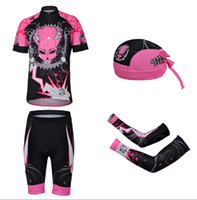 Short Anti Bacterial Women Chains pink sweat air cycling jerseys short sleeve suit women riding two-piece outfit Personality cycling scarf sleeve