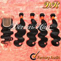 hair weft - Brazilian Virgin Human Weave Hair Weft Extensions Bundles And Top Lace Closure quot x4 quot Body Wave Wavy Natural Color