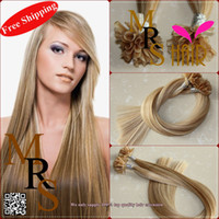 "Brazilian Hair P14/613# Straight P14 613# 18"" multi color hot fusion Italy keratin U tip remy hair 0.5g pc 50pcs a lot brazilian human extensions bond promotion"