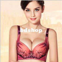 Bras Cotton Normal Wholesale-Free Shipping Sexy Anti-Static Push Up Plunge Detachable Massage Oil Water Bag+Detachable Neck Halter Gel Padded Bra(BH532)