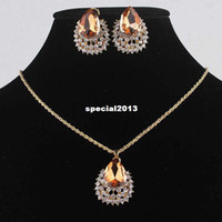 Wholesale Charming Women Environmental k Gold Filled Austrian Crystal Necklace Earrings Five colors Party Jewelry Sets