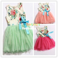 Wholesale NEW WHite color available now color Baby girl summer dress vest with ribbon flower printed cotton baby TUTU dress for Y