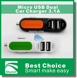 Wholesale 2014 NEW Arrival Micro USB Dual Car Charger A A A mAh For Galaxy S5 I5 S Android Tablet HTC Huawei Super A Quality Fashion Design