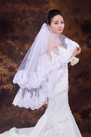 Wholesale 2014 Hot Sale Bridal Veil Lace Edge Yarn Decoration Layer White Ivory with comb