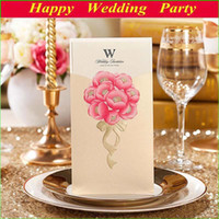 Folded elegant wedding invitations - Elegant Wedding Invitation Cards Golden Pink Flower Personalized Wedding Cards with Free Envelope Seal