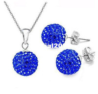 Wholesale 2015Fashion Jewelry Sets Silver Plt Crystal Clay Beads Stick Necklace Earrings Jewelry Sets O Chain Necklace Earrings CM ES2
