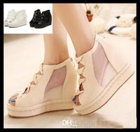Women Wedge  Fashion New Korean Lena ViVi meshy white sandals shoes hollow out platform wedge sandals with zipper shoes summer voation sandals