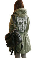 Wholesale korea version skull embroidery popular fashion new autumn coat Korea Womens Punk Skull Head Hooded Coat Rain Trench coat Outerwear