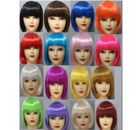 Wholesale 10pcs New Fashionable BOB Style Short Cosplay Party Fancy Dress Fake Hair Wig Halloween Wigs colors in choice PW0030