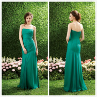 Reference Images Ruched Sleeveless 2014 Sexy Bridesmaid Dresses Chiffon Backless cheap Sheath Strapless Party Dresses Ruched Floor length Dress