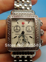 Men's michele watch - 2014 New Brand Michele Deco Diamond Watch Steel Chronograph MOP Dial MW71