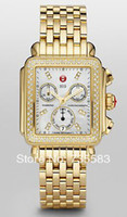 Women's Round Analog 2014 New Brand Michele Deco Ladies Diamond Michele Yellow Gold Plated Deco Day Pearl Watch