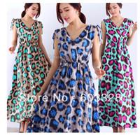 Casual Dresses V_Neck A Line New Womens Bohemia Boho Sleeveless V Neck Leopard Print Chiffon Long Maxi Dress