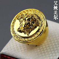 Band Rings gold filled ring - high quality K Gold plated filled Exaggerated big rings Justin hiphop Medusa head ring bijouterie men accessories jewelry