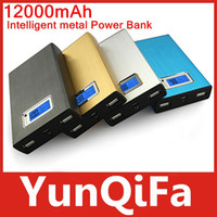 Power Bank Universal Emergency / Portable New 12000mah LCD power bank PN-910 With universal Dual USB Outputs External Backup Battery charger OEM+ 4 Connector + usb cable