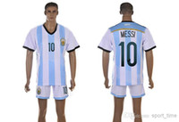 Wholesale Champion Argentina MESSI Soccer Sets World Cup Argentina Home Soccer Jersey Uniforms High Quality Football Shirt with Soccer Shorts