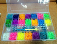Wholesale 2014 Novelty DIY Colorful family rainbow Loom Bands Bracelet KIT bands and hook complete kits in PVC box MOQ