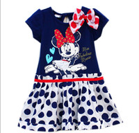 TuTu Summer A-Line 2014 baby cartoon clothing girl girls short sleeve polka dots dress with bow minnie mouse Ready to Ship Free shipping C36