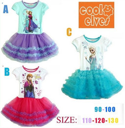 Wholesale Best Price Promotion Summer Frozen Kids Baby Dress Elsa Princess Lace Flower Tutu Skirt Cartoon Movie Printing Clothes Cheap