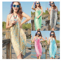 Wholesale 150 cm New Bohemia fashion wave multicolor bikini beach towel mantle beach clothes long chiffon shawl silk scarves all match Veil