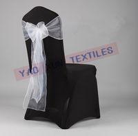 Banquet Chair Spandex / Nylon  Black Lycra Spandex CHair Cover With White Organza Chair Sash For Wedding