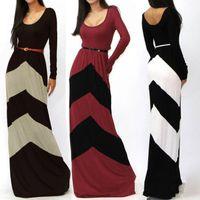 Wholesale 2014 new fashion summer spring women s long boho dress fashion sexy rules geometric bump color stripe sleeve mop floor dress