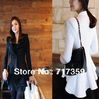 Women Dress Suit Corduroy Bestselling 1pc lot Elegant White Black Long Sleeve Blazers Slim Swallow Tail Women Business Party Suit Plus Size XL 652885