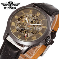 Wholesale Classic Man Mechanical Watch Mens Automatic Movt Bronz Leather Band Wristwatches