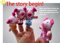 "Unisex 0-12 Months Multicolor 8Pcs Soft Plush Puppet Finger Toys ""The Three Little Pigs"" Educational Story-telling Toy For Children Drop shipping 8454"