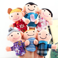 Unisex 0-12 Months Multicolor 6pcs Finger Plush Puppet Happy Family Story Telling Dolls Support Children Baby Educational Toys Free Shipping Wholesale