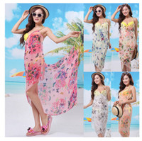 Wholesale 150 cm New fashion Bohemia multicolor butterfly bikini beach towel mantle beach clothes chiffon shawl silk scarves all match Veil