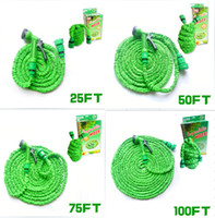 Wholesale NEW Expandable Flexible Scalable Water Garden X POCKET Hose Pipe tube with Spray Nozzle X garden water hose ft ft ft ft free sh