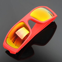 Resin Lenses Fashion Oval 100pcs lot Men's red Frame Yellow Rainbow lens Sunglasses Bicycle Cycling Eyewear Glasses Sport Sunglasses