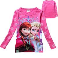 Wholesale Big discount Children girl frozen Elsa and Anna long sleeve T shirt girl cartoon pure cotton T shirt K08160