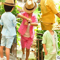 boy set - 2015 Korean Style Boys Fashion Candy Color Business Outfits Hot Sale Kids Summer Gentleman Set Jacket And Shorts Pieces Set