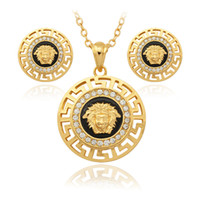 lion head necklace - Hot sale Vintage Lion Head Pharaoh Face Pendant Earrings Necklace K Gold Plated Rhinestone Fashion Jewelry Sets Jewelry PE643