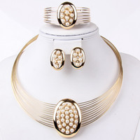 Wedding Jewelry Sets Celtic Gift High Quality African Costume Necklace Earrings 18k Gold Plated Crystal Women Party Accessories Jewelry Sets