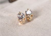 Women's fashion beaded earrings - Elegant Pair Diamond Crystal Skull Golden Stud Wedding beaded Earrings Fashion