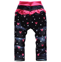 Jeans Girl Winter Retail free shipping 2014 girls pink flannel winter fashion leisure jeans sweet cartoon kids jeans pants.